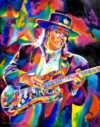 Fender Stratocaster Framed Prints - Stevie Ray Vaughan Framed Print by David Lloyd Glover