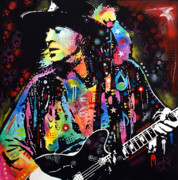 Abstract Music Framed Prints - Stevie Ray Vaughan Framed Print by Dean Russo