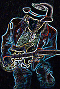 Guitar Player Digital Art - Stevie Ray Vaughan Electric by Denise Haddock
