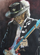Blues Guitar Paintings - Stevie Ray Vaughan  by Lance Gebhardt
