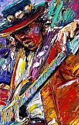 Rock Guitar Paintings - Stevie Ray Vaughan number one by Debra Hurd