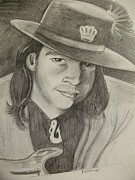 Fender Drawings Originals - stevie ray Vaughan by Scott Easom