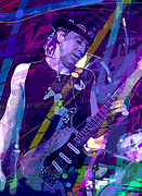 Singer Painting Metal Prints - Stevie Ray Vaughan Sustain Metal Print by David Lloyd Glover
