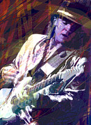 Guitar Player Prints - Stevie Ray Vaughan Texas Blues Print by David Lloyd Glover