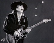 Blues Guitar Framed Prints - Stevie Ray Vaughan Framed Print by Tom Carlton