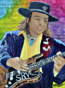 Guitar Art Prints Prints - Stevie Ray Vaughn Print by Michael Lee