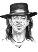 Famous People Drawings - Stevie Ray Vaughn by Murphy Elliott