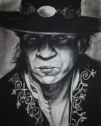 Guitar Drawings Posters - Stevie Ray Vaughn Poster by Steve Hunter