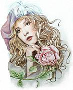 Stevie Nicks Framed Prints - Stevie with Rose Framed Print by Johanna Pieterman