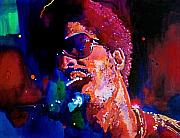 Celebrity Portrait Framed Prints - Stevie Wonder Framed Print by David Lloyd Glover