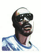 Rhythm And Blues Drawings Posters - Stevie Wonder Poster by Emmanuel Baliyanga