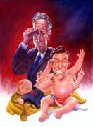 Stewart And Colbert Print by Ken Meyer jr