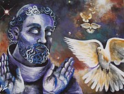 Francis Drawings Posters - St.Francis and the Birds Poster by Olivia Candille
