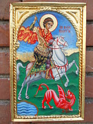 Orthodox Painting Originals - St.George slayng the dragon by Jelio Jelev