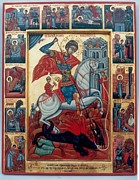 Orthodox Painting Originals - St.George with scenes of his life by Jelio Jelev