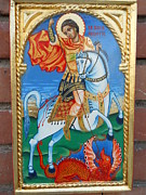 Orthodox Painting Originals - St.George with scenes slying the dragon by Jelio Jelev