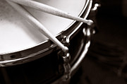 Black And White Drum Posters - Sticks on Snare Drum Poster by Rebecca Brittain