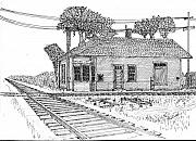 Train Drawings Originals - Stiles Jct Depot by Jack G  Brauer