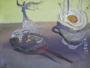 Breakfast Drawings Prints - Still asleep breakfast Print by Simona Juskeviciute