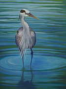 Great Blue Heron Paintings - Still Blue by Lacey Wingard