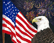 4th July Mixed Media Prints - Still Free Print by Joy Braverman