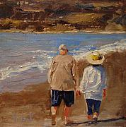 Couples Paintings - Still Holding Hands by Barbara Andolsek
