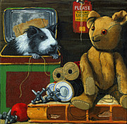 Toys Framed Prints - Still Life - Herman Finds A Friend Framed Print by Linda Apple