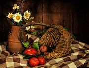 Boquet Posters - Still Life - The Country Basket Poster by Thomas Schoeller