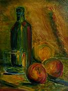 Wine Bottle Paintings - Still Life - Wine Bottle with Fruit by Paul Galante