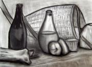 Glass Bottle Drawings Framed Prints - Still Life 1 Framed Print by Victor Hernandez