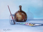 Wine-bottle Paintings - Still Life After NC Wyeth 2 by Carolyn Coffey Wallace