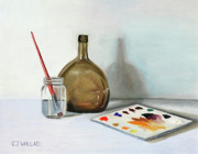 Wine Bottle Paintings - Still Life After NC Wyeth by Carolyn Coffey Wallace