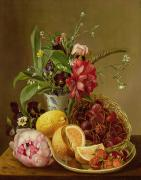 Food And Beverage Paintings - Still Life by Albertus Steenberghen