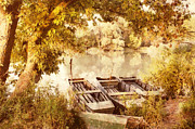 Park Scene Paintings - Still Life at the lake by Odon Czintos