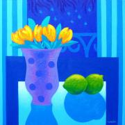 Texture Floral Painting Posters - Still Life At Window III Poster by John  Nolan
