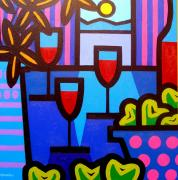 Wine Bottle Prints Paintings - Still Life at Window  by John  Nolan