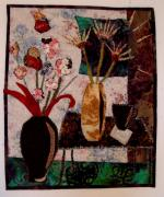 Textile Art Mixed Media Originals - Still Life  Coffee time by Rhoda Forbes