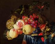 Peaches Metal Prints - Still Life Metal Print by Cornelis de Heem