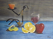 Candle Stand Paintings - Still life by Deepa Sarwate