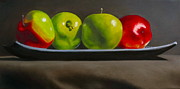 Tray Paintings - Still Life Four Apples by Darlene Keeffe