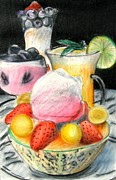 Strawberry Drawings Posters - Still Life Fruit Poster by Patrice Torrillo