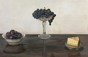 Glass Table Reflection Painting Prints - Still Life in Black and White Print by Amy Myers
