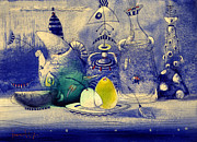 Still Life Mixed Media Metal Prints - Still Life in Blue Metal Print by Svetlana and Sabir Gadghievs