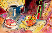 Tea Pot Drawings Prints - Still Life in Borgo in Italy 02 Print by Miki De Goodaboom