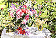 Rose Bushes Posters - Still Life In The Artists Garden Poster by David Lloyd Glover