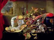 Platter Framed Prints - Still Life Framed Print by Jan Davidsz Heem