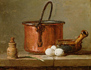 Fruit Still Life Metal Prints - Still Life Metal Print by Jean-Baptiste Simeon Chardin