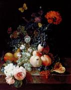 Peach Painting Prints - Still Life  Print by Johann Amandus Winck