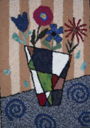Primitive Art Tapestries - Textiles Prints - Still Life Line Play Print by Maureen McIlwain