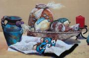 Iron  Pastels - Still Life by M Diane Bonaparte